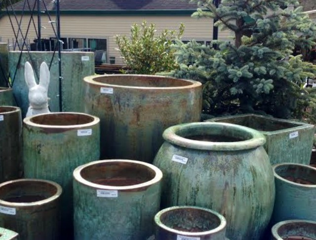 Green Ceramic Pots